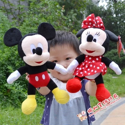 28CM-30CM Lovely Mickey Mouse And Minnie Mouse Stuffed animal Soft Plush Toys Christmas Gifts education plush toys(China (Mainland))