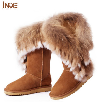 Nature Big Fox Fur New Fashion snow boots for women real genuine leather girls winter shoes tassels boots flats High Quality