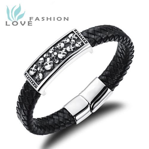 Wholesale 2015 hot sale fashion jewelry men stainless steel skull bracelets hand strap leather bracelet man accessories PH941MK(China (Mainland))