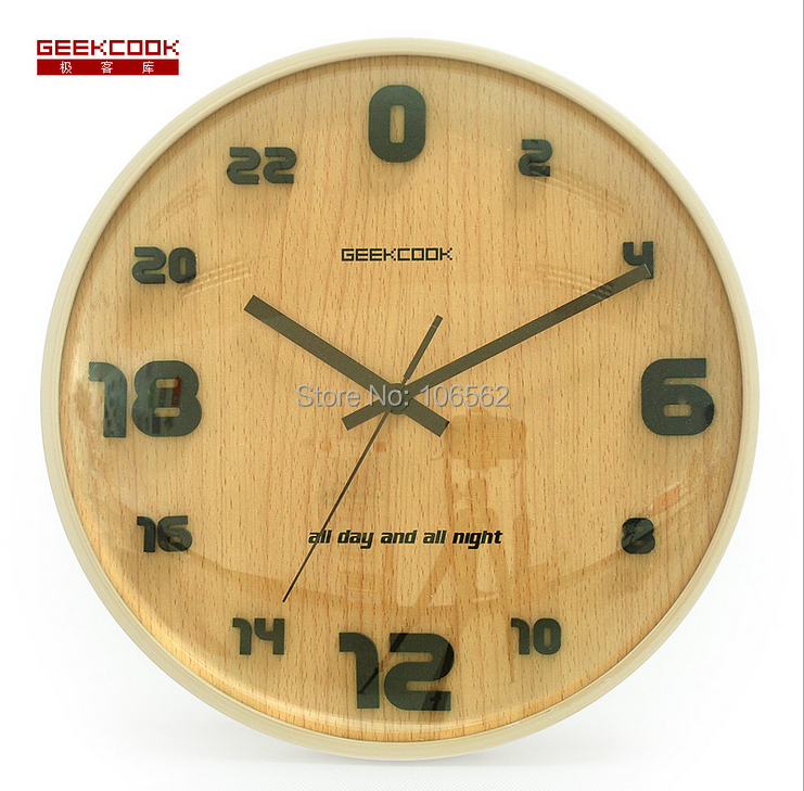 Hot sale Geekcook Personality Creative home decor 24-hour solid wood mirrors wall clock new 2014 living room relogio de parede(China (Mainland))