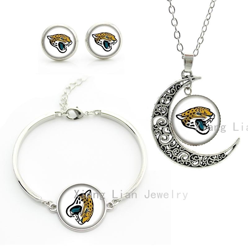 Cool wild animals Jaguar tiger art necklace earrings bracelet Jacksonville Jaguars rugby NFL football team jewelry set NF137(China (Mainland))