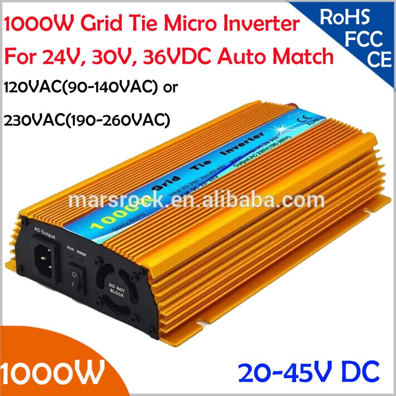 1000W Grid tie micro inverter, 20V-50VDC, 90V-140V or 190V-260VAC, workable for 1200W, 24V, 30V, 36V solar panel or wind system(China (Mainland))