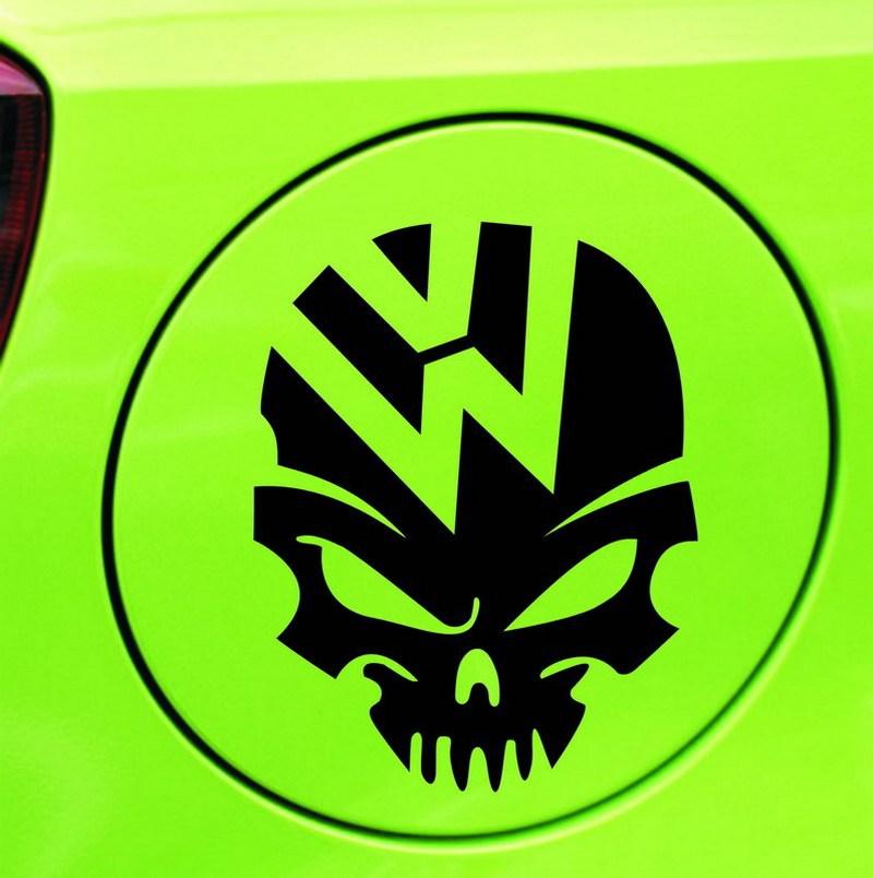 Car Styling Skull And Crossbones Kito Car Stickers Volkswagen Automotive LOGO Fuel Tank Cap Decor Sticker White Black 1 Pcs/Lot(China (Mainland))