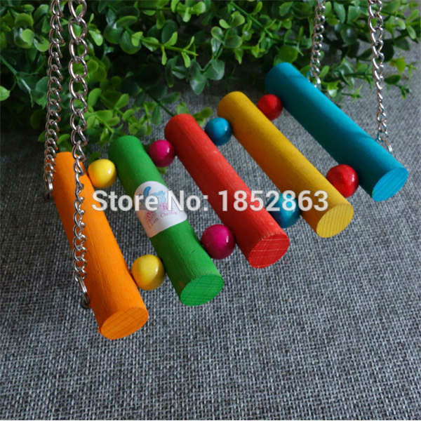 Bird Cage Toy Colorful Bird Parrot Hammock Swing Bridge Inset with Multi-colors Balls Toys(China (Mainland))