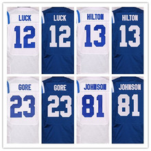 Best quality jersey,Men's 1 Pat McAfee 12 Andrew Luck 81 Andre Johnson 87 Reggie Wayne elite jersey,White,Blue,Size M-XXXL(China (Mainland))