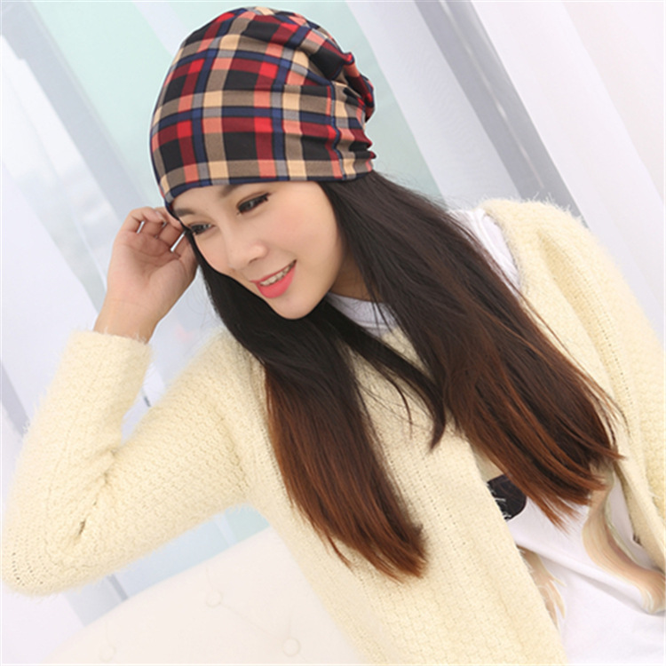 2015 Autumn Winter Caps font b Plaid b font Cotton Hat Unisex Beanies Muffler Hats Scarf