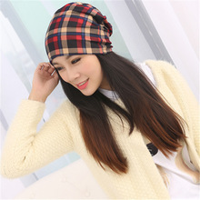 2015 Autumn Winter Caps Plaid Cotton Hat Unisex Beanies Muffler Hats Scarf Dual-use Hat for Women and Men