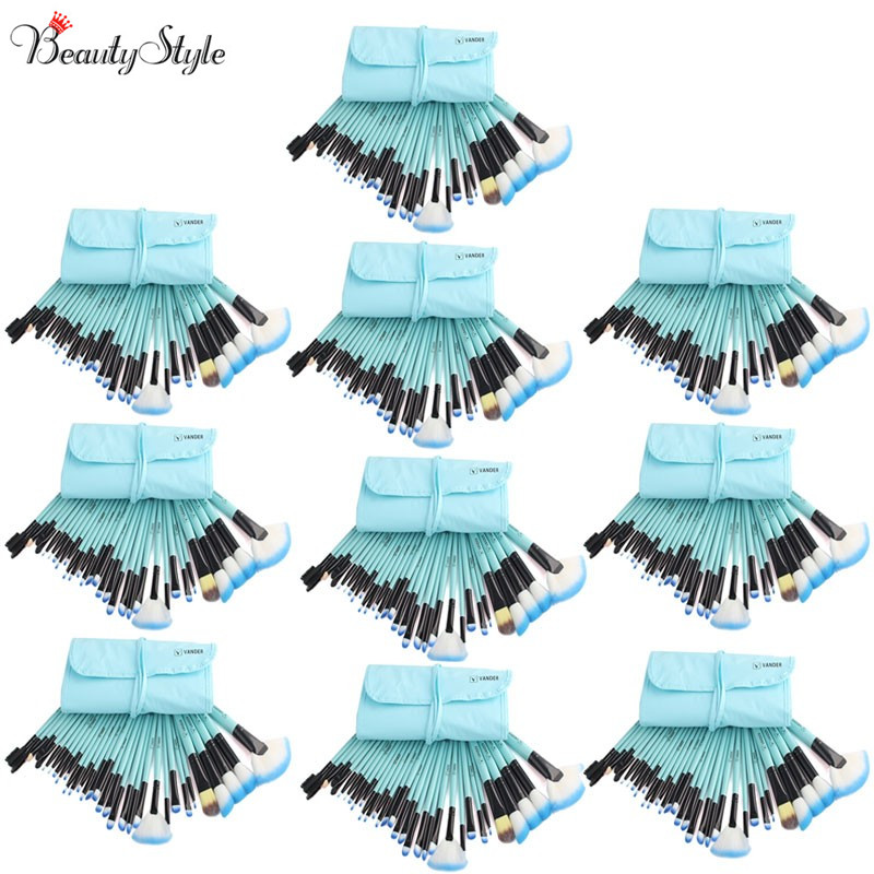 (Wholesale) Blue 10 Sets / 32pcs Vander Makeup Brushes Foundation Powder Pinceaux Maquillage Cosmetics Makeup Brush + Pouch Bag(China (Mainland))