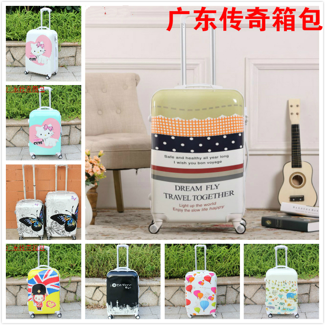 Cartoon trolley luggage travel bag female 20 male 24 specular strap lock universal wheels suitcase bags 28