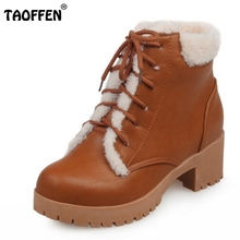 Buy New Autumn Winter Women Ankle Boots Woman Martin Waterproof Outdoor Snow Botas Lace Warm Fur Shoes Footwear Size 34-43 for $23.88 in AliExpress store