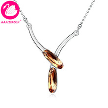 "Free Shipping!!! Women's Brown ""Gemini"" Crystal Necklace Made With Swarovski Elements, Come With A Necklace Box! (10041)(China (Mainland))"