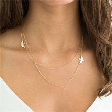 KISSWIFE 2018 Fashion Leaf multi-layer feather pendant necklace Irregular Pendant Chain Women's Silver Feather Necklace(China)