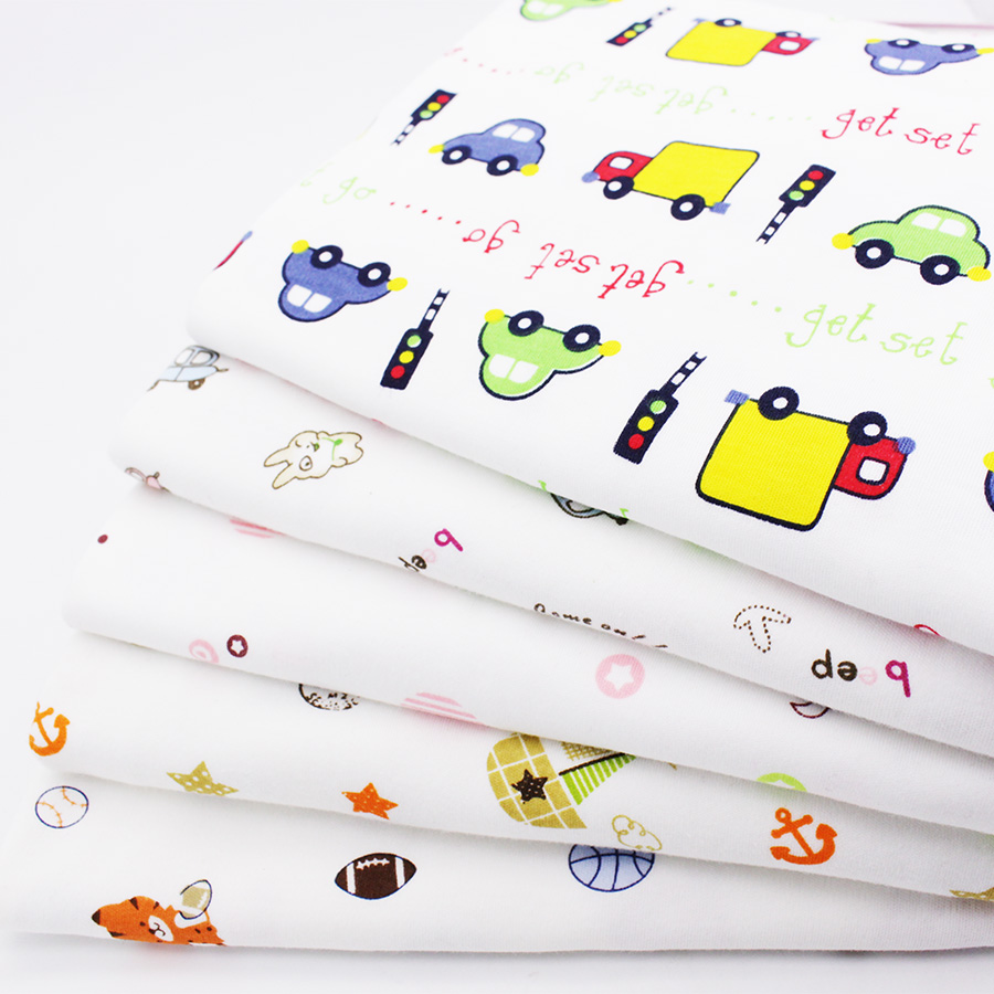 Baby Fabric Elastic Cartoon Printed Cotton Knitted Fabric Of Sewing Infantiles Supplies Children Cloth Baby Bed Sheets Sleepwear(China (Mainland))