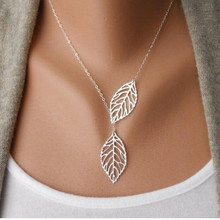 2015 Hot Fashion Gold Silver Plated Chain layer Necklace Leaf Casual Beads Long Strip Pendants Gifts Women Necklaces Jewelry