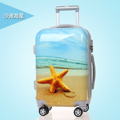 20 24 inch trolley spinner password abs+pc beach starfish pattern sky blue travel luggage for women or girl(China (Mainland))