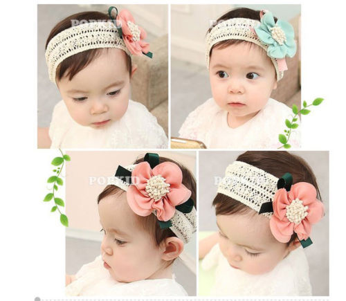 Baby Kid Girl Headband Infant Hair Band Elastic Lovely Lace Flower Headwear(China (Mainland))