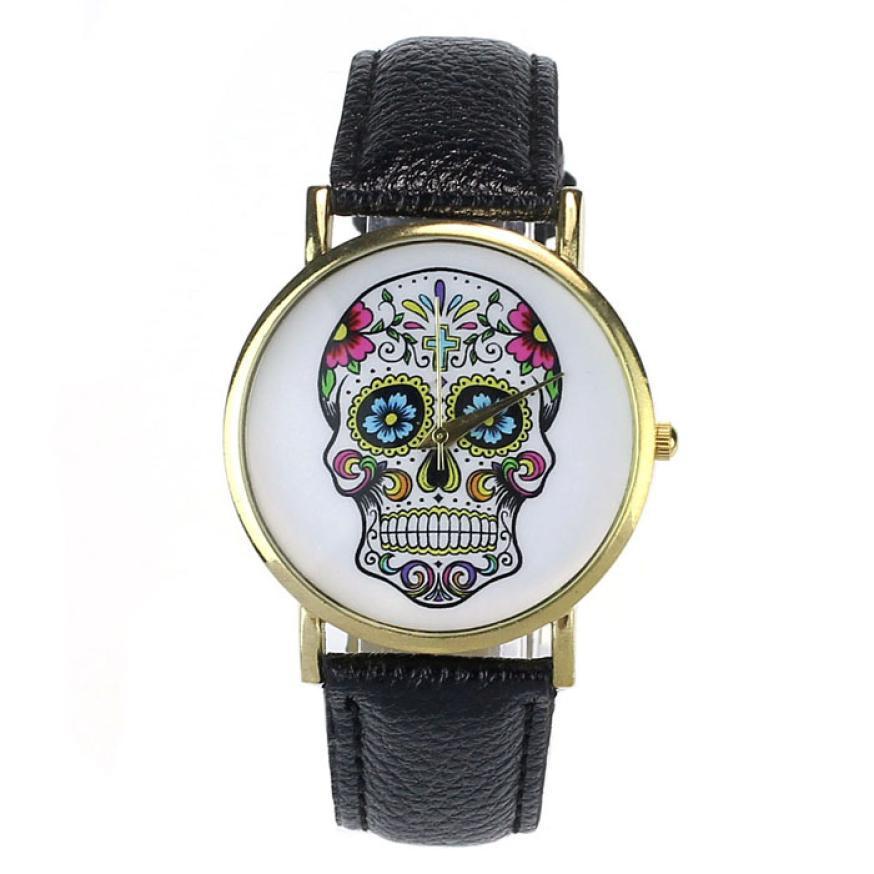 2015 newest 8color casual skull ladies watch golden quartz watch women dress wristwatch gift clock free ship<br><br>Aliexpress