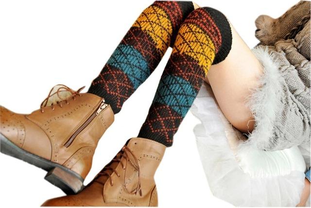 Новый стиль мода хлопок зима женщины девушки трикотажные колено высокие гетры загрузки ...