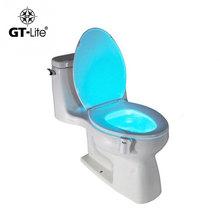 GT-lite 8 colours sensor Body Motion Sensor Toilet Light Sensor Toilet Seat LED Lamp Motion Activated Toilet Bowl Night Light(China (Mainland))