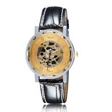 Relogio Masculino hombres números romanos del acero inoxidable reloj de pulsera esqueleto deporte Steampunk Hollow reloj de cuarzo de cuero