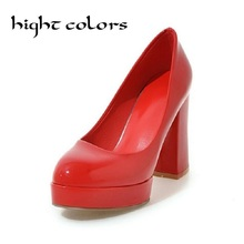Buy 2017 New Fashion Red Women Shoes Thick High Heels Office Dress Work Court Platform Pumps Slip-On Party & Casual Shoes Woman 43 for $27.82 in AliExpress store