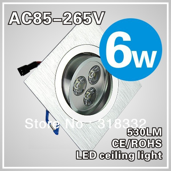 6w Square LED Ceiling Light  Indoor Down Lamp Warm/Cold White silver shell,3*2w Light+Driver+Free Shipping