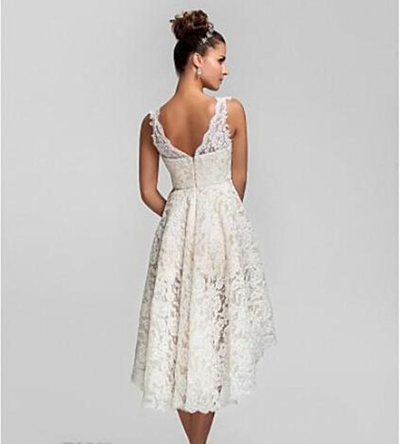 Noiva curto picture more detailed picture about vintage for Vintage tea length lace wedding dress