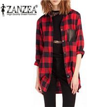 Hot Sale 2015 Fashion Women Full Sleeve Plaid Pockets Casual Lapel Button Down Blouse Long Sleeve Shirt  Plus Size(China (Mainland))