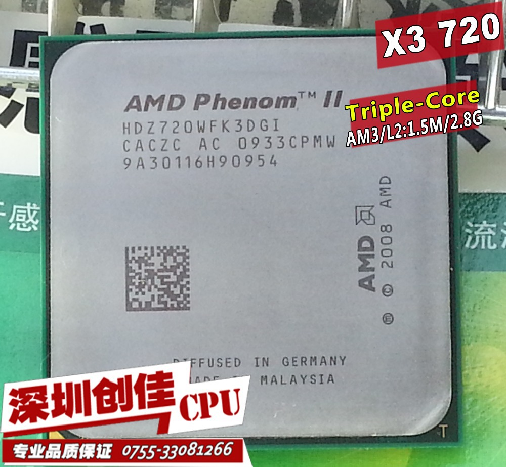 Free shipping For AMD Phenom II X3 720 2.8GHz Socket AM3 938-pin Processor 95W Triple-Core Desktop CPU scrattered pieces x3 710(China (Mainland))