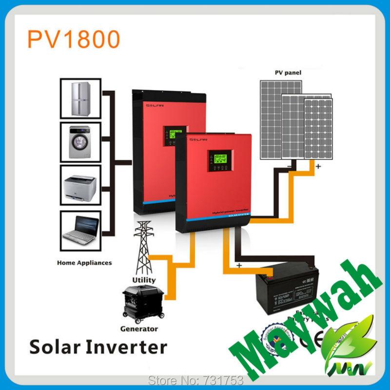 48VDC 5000VA Peak Power 10000VA Pure Sine Wave Solar Hybrid Inverter Built-in 50A PWM Controller LCD Display(China (Mainland))