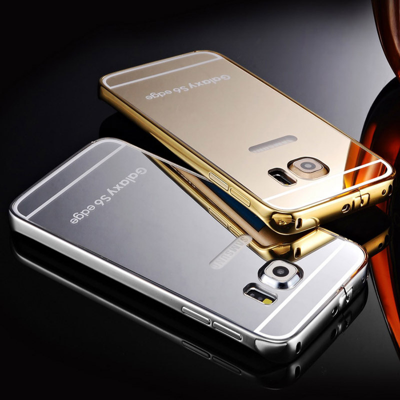 TOMKAS S6 Edge! Metal Aluminum +Clear Back Mirror Case For Samsung Galaxy S6 Edge Luxury Hybrid Hard Armor Accessories Cover(China (Mainland))