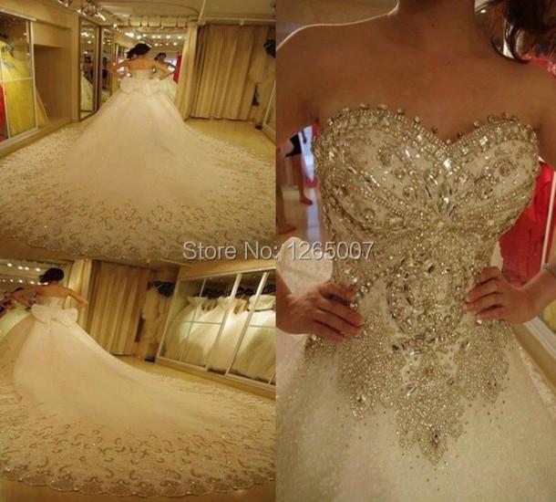 Arabic style shiny sweetheart diamond crystal beaded top for Puffy wedding dresses with diamonds