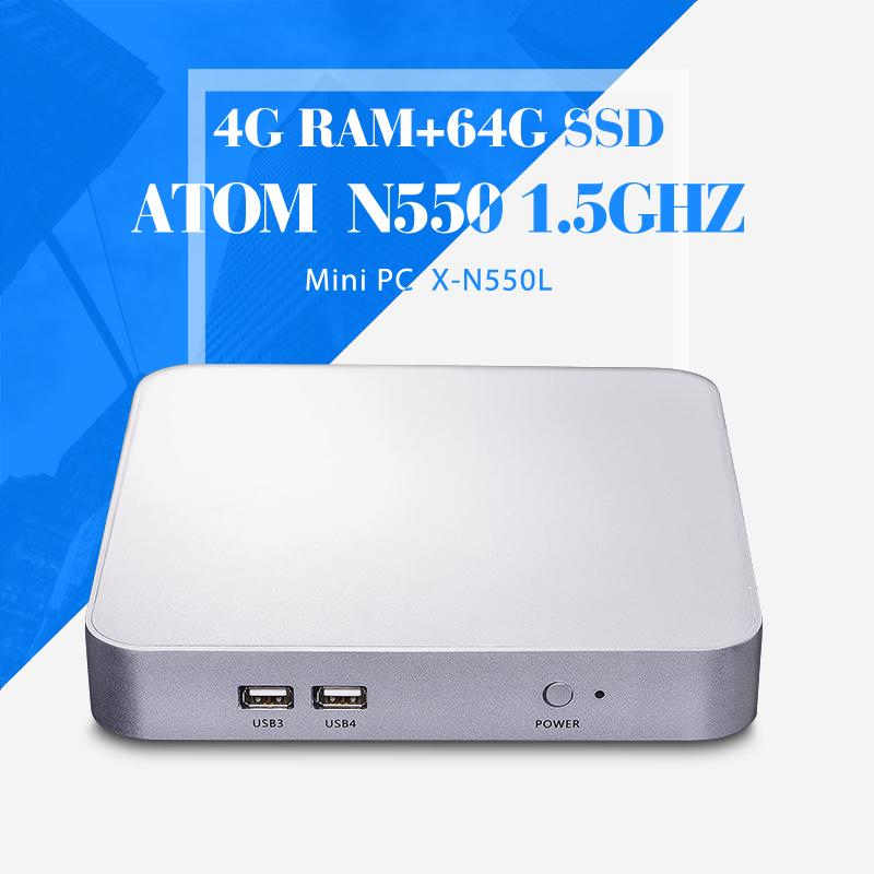 Small micro industrial pc computer station N550 4gb ram 64gb ssd+wifi support HD video desktop pc thin client Mini pcs(China (Mainland))