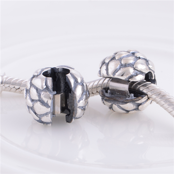 NEW 925 Sterling Silver Lock Clip Stopper Loose Charm Beads, DIY Jewelry Accessories Fits Pandora Style Bracelet KT065-N(China (Mainland))