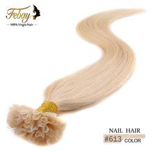 "Hot selling 18"" 20"" 22"" 24"" Italian Keratin U tip/Nail tip hair extension 0.5g/s  blonde #613 stock 100% Human Hair Extension(China (Mainland))"