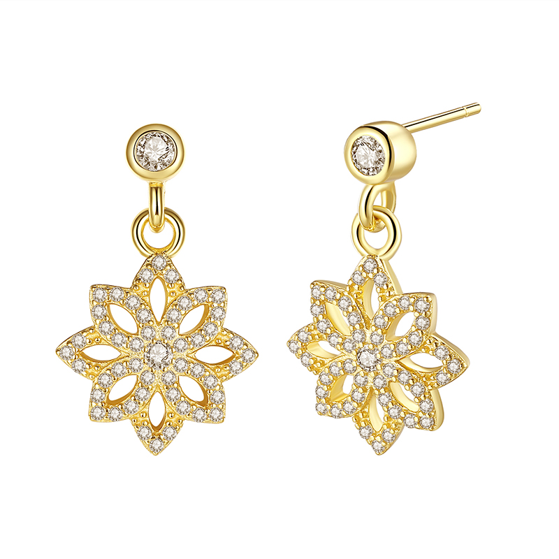 ZMZY Genuine 100% 925 Sterling Silver Lace Botanique Stud Earrings 14K Gold Plated Pave CZ For Women Female Fine Jewelry Gift(China (Mainland))