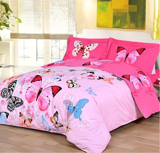 Coton égyptien couvre-lits en satin papillon couette ensemble buty literie ensemble de draps(China (Mainland))