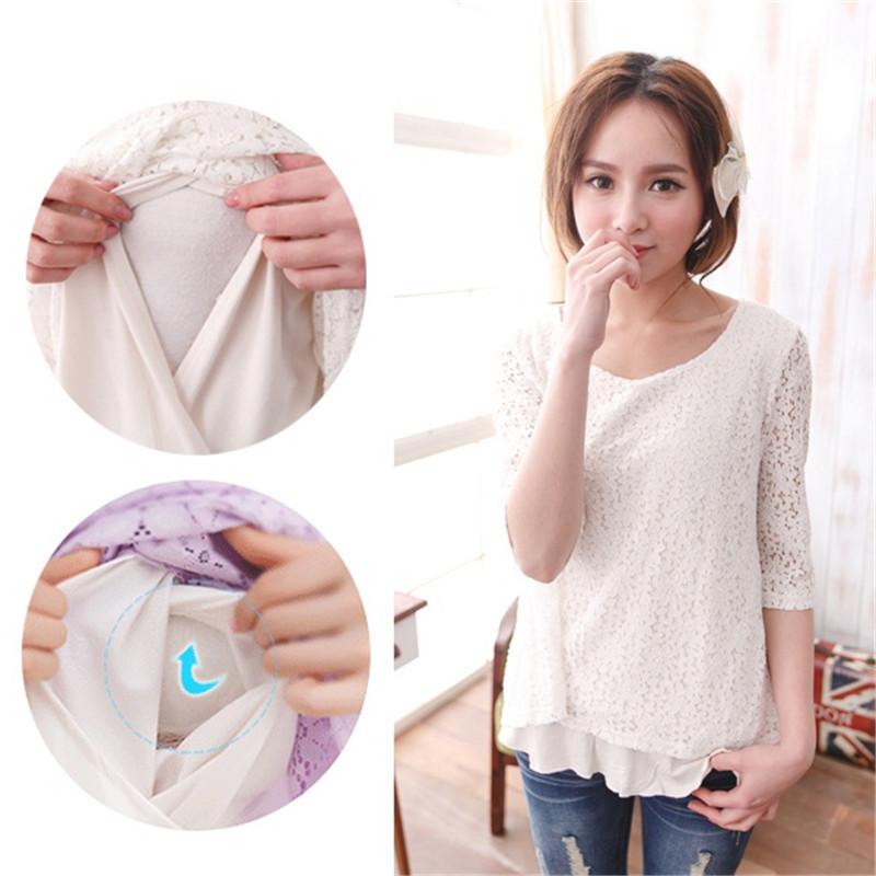 Breastfeeding Tops Maternity Nursing Clothes Pregnancy Wear Nursing Lace Tops(China (Mainland))