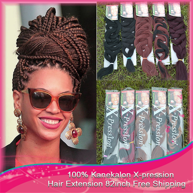 100% kanekalon Free Shipping 82 inch 100pcs/lot 200-210g  Hot Selling Synthetic  X-pression Ultra Braid Hair Extension Bulk Hair<br>