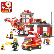 Sluban 371Pcs City Fire Station helicopter truck Set firefighters minifigures Kids Educational Block Toys Compatible with Legoes