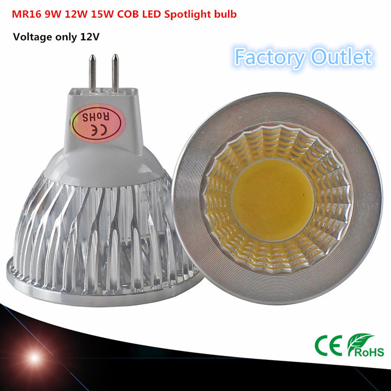 1pcs Super deal MR16 COB 9W 12W 15W LED Bulb Lamp MR16 12V ,Warm White/Pure/Cold White led LIGHTING(China (Mainland))