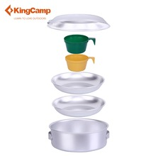 KingCamp Aluminum 8 PCS Camping cookware Hiking Backpacking Cookware Set Includes Pots&Gripper, Frypan, Plastic Mugs, Srap(China (Mainland))
