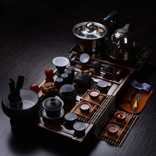 Ceramic kung fu tea yixing tea set four in one induction cooker solid wood tea tray