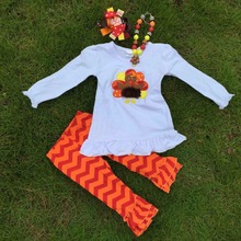 WHOLESALE Thanksgiving day holiday outfits  new girls design turkey top pant set with matching necklace and hair bow set(China (Mainland))