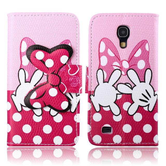 cute cartoon mickey mouse minnie bowknot flip leather case cover for Samsung galaxy S4 mini I9190 8pcs/lot  Free shipping