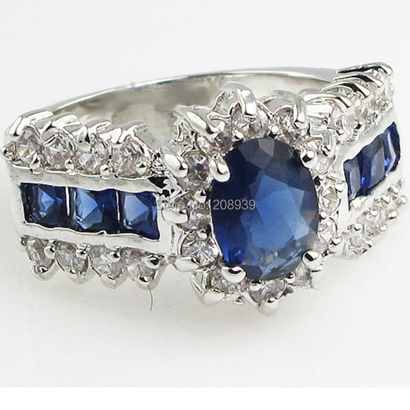 Stunning Fashion 2.8CT Synthetic Sapphire Zircon Heavy 14K White Gold Plated Ring 1218(China (Mainland))