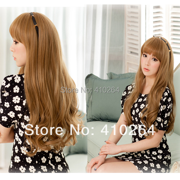 $Wholesale_Jewelry_Wig$ Free Shipping Womens Dolce Long Wavy Curly Shaped Hair Full Bangs Light Brown Wig Cosplay Wigs(China (Mainland))