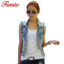 FIONTO 2016 Women Denim Vest Sleeveless Jacket Slim Coat Cardigan Jeans Vest Plus Size For Women Casual High Waist Coat A3111(China (Mainland))