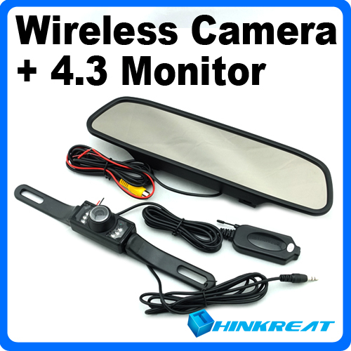 "High Quality 2.4G Wireless Car Rear View Back up Camera + 4.3"" Mirror Monitor+Parking Assistance Wireless Rearview Kits CM10#(China (Mainland))"