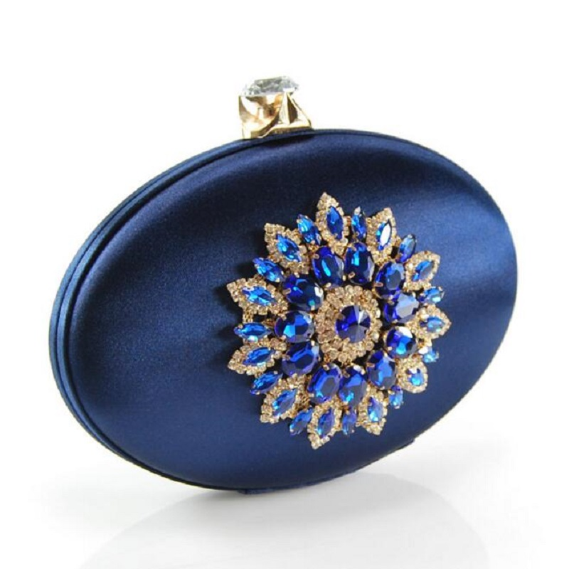 Women's Fashion Party Cocktail Prom Handbag Crystal Metal Flower Appliques Navy Blue Evening Clutch Bag Wedding Clutches Purse(China (Mainland))